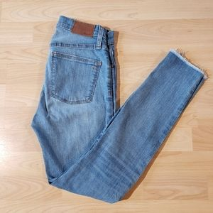 MADEWELL distressed 9 inch high rise skinny